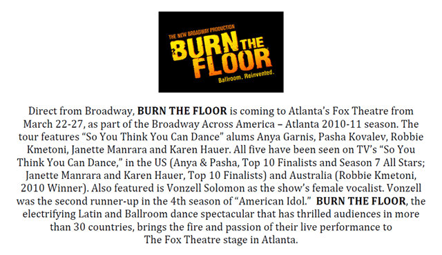 Burn the Floor at the Fox