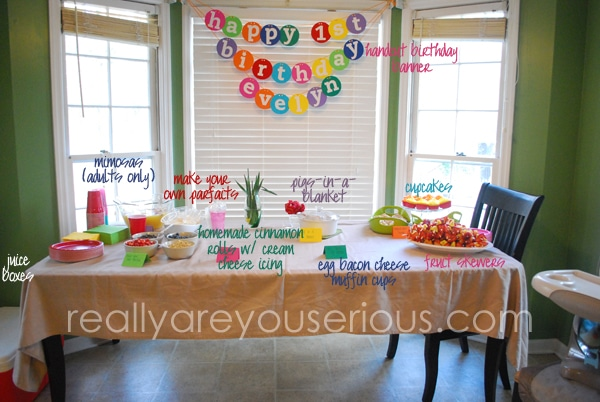 first birthday spread for breakfast and PJ party