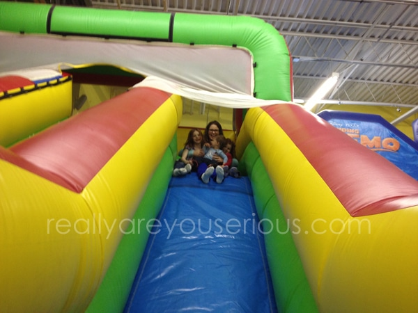All the girls on the slide