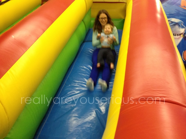 E's first slide ride