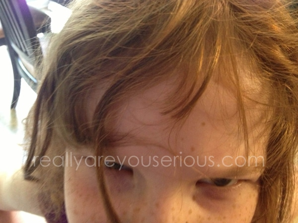 custom haircut by 6 year old | Wordless Wednesday