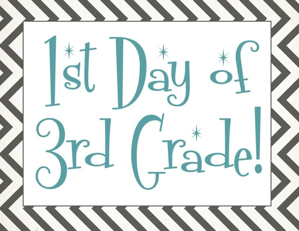 Free back to school printable | First day of 3rd grade free printable