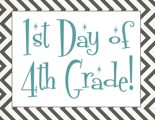 Free back to school printable | First day of 4th grade free printable