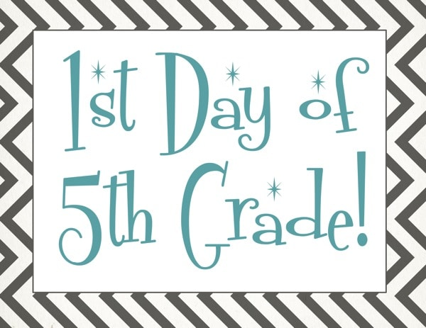 Free back to school printable | First day of 5th grade free printable