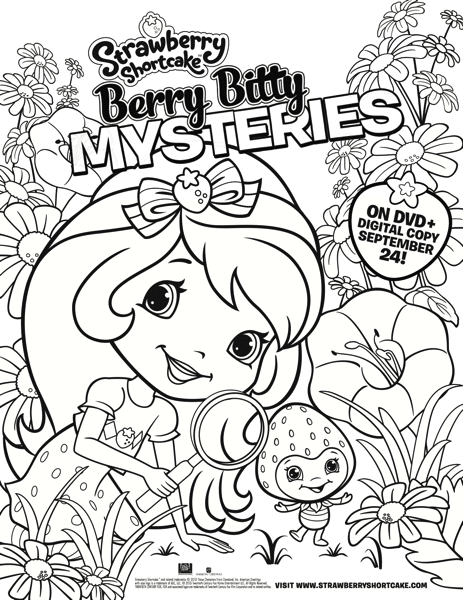 Strawberry Shortcake Berry Bitty Mysteries Coloring Sheet