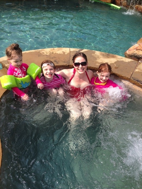 Buried under kids in the pool