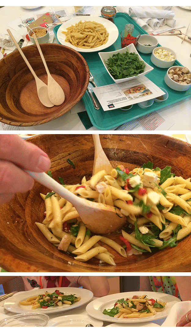 Penne Pasta Salad with grilled chicken, roasted peppers, sun dried tomatoes, arugula, fresh mozzarella and basil