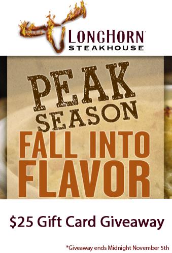 $25 Longhorn Steakhouse Giveaway