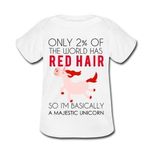 redhead majestic unicorn baby or toddler shirt