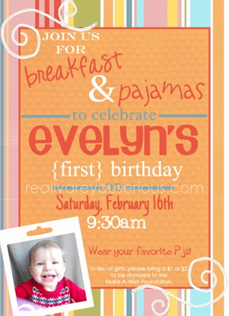 Breakfast and Pajamas a first birthday party