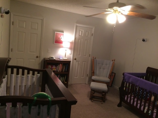 One room, two cribs, two monitors