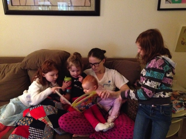 Reading with my four girls