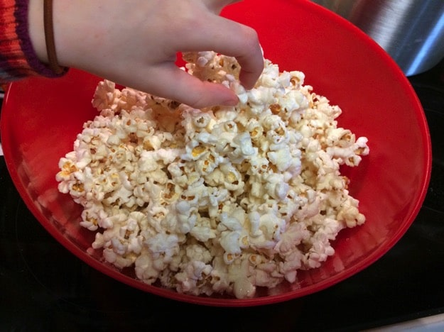homemade sweet and salty kettle corn in the whirly pop
