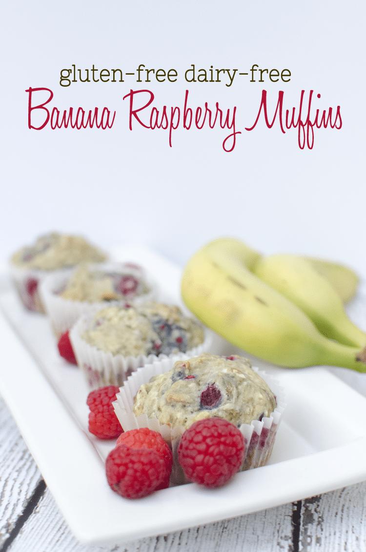 gluten free dairy free banana rasberry muffins