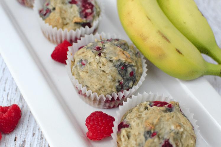gluten free dairy free banana raspberry muffin