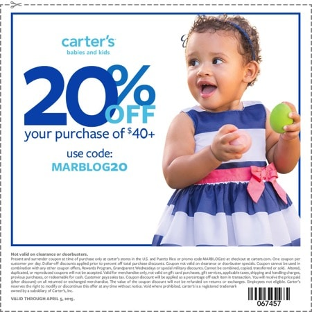Carters 0326 marchblogger coupon