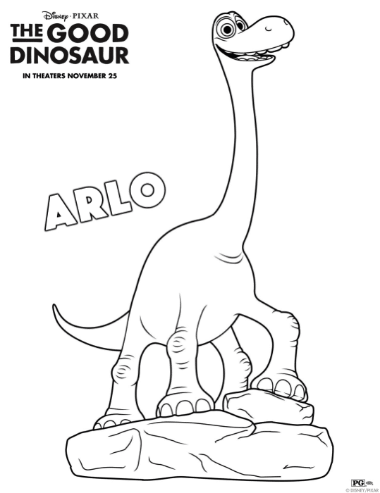 The Good Dinosaur Free Printable and Coloring Sheets
