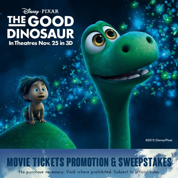 The Good Dinosaur Movie Tickets Promotion and Sweepstakes
