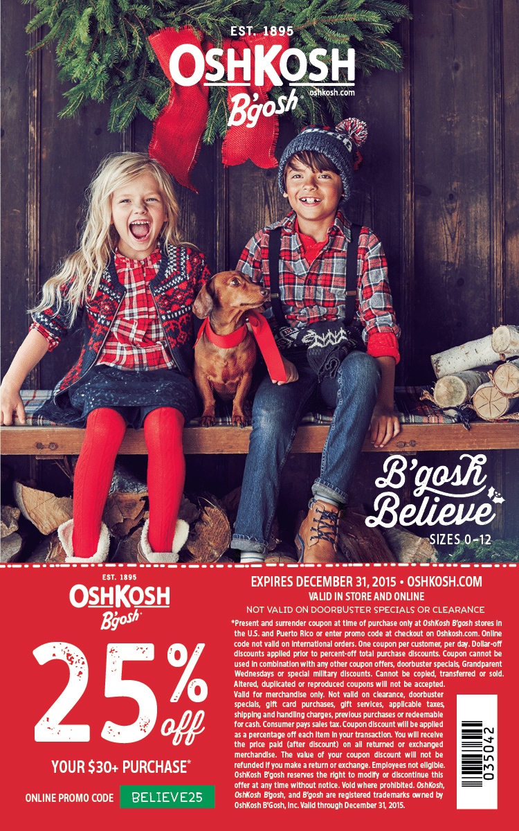 OshKosh B'Gosh Holiday coupon