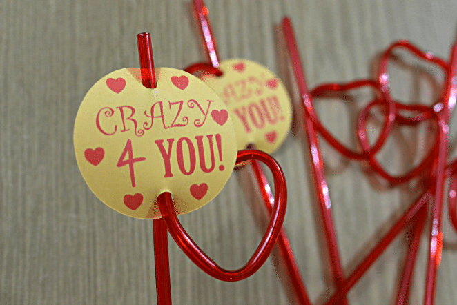 Valentine straws with free printable