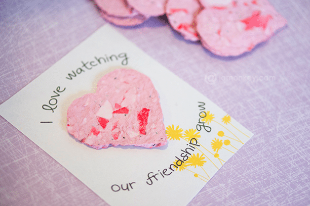 diy recycled seed paper valentine