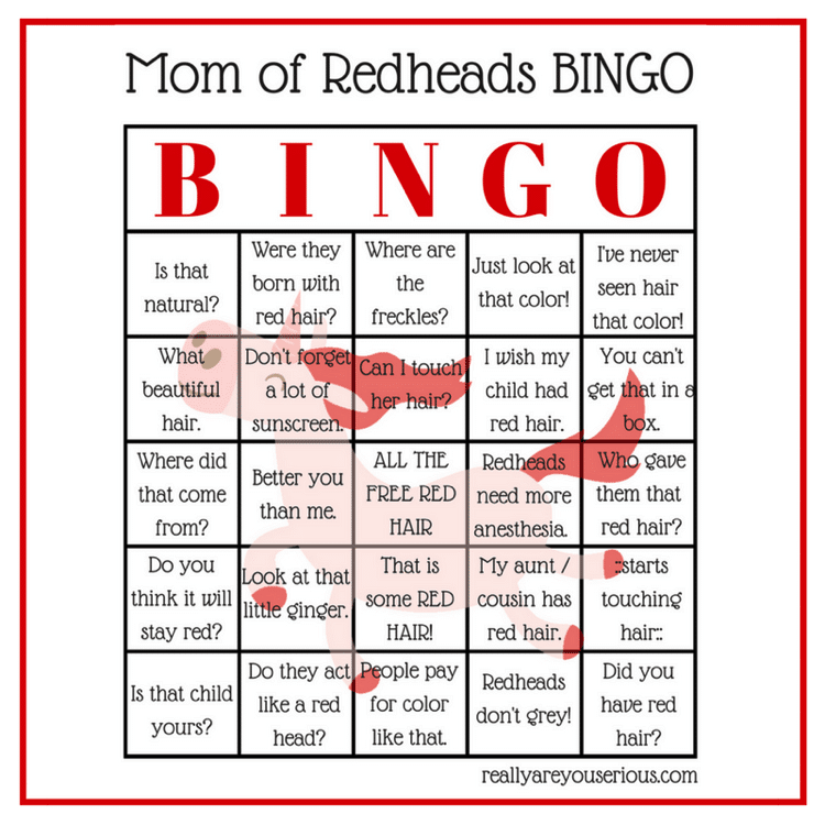 Mom of redheads bingo square