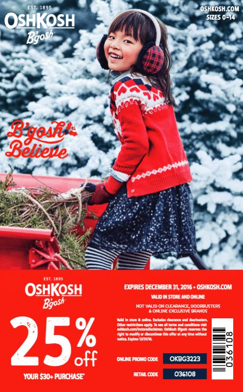 OSHKOSH BGOSH coupon 2016