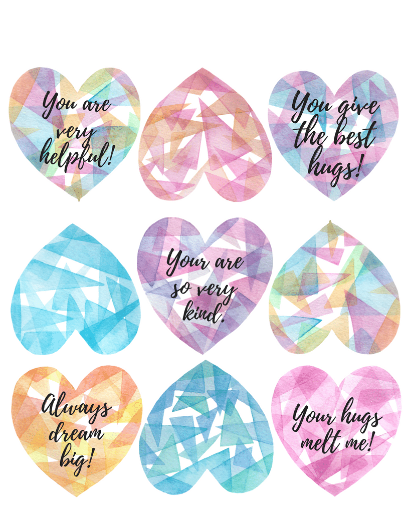 Watercolor hearts with sample text