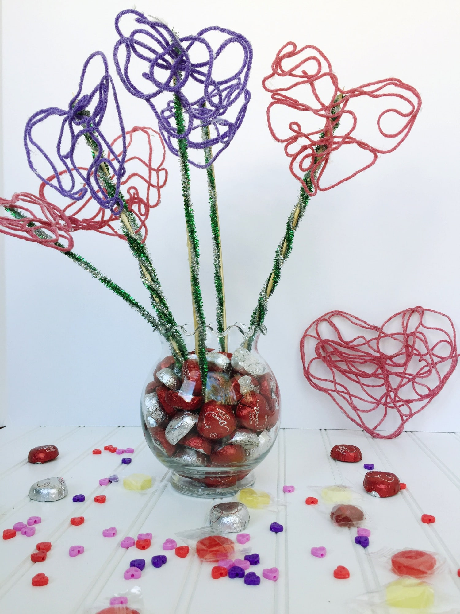 Creative galaxy yarn heart centerpiece bouquet final