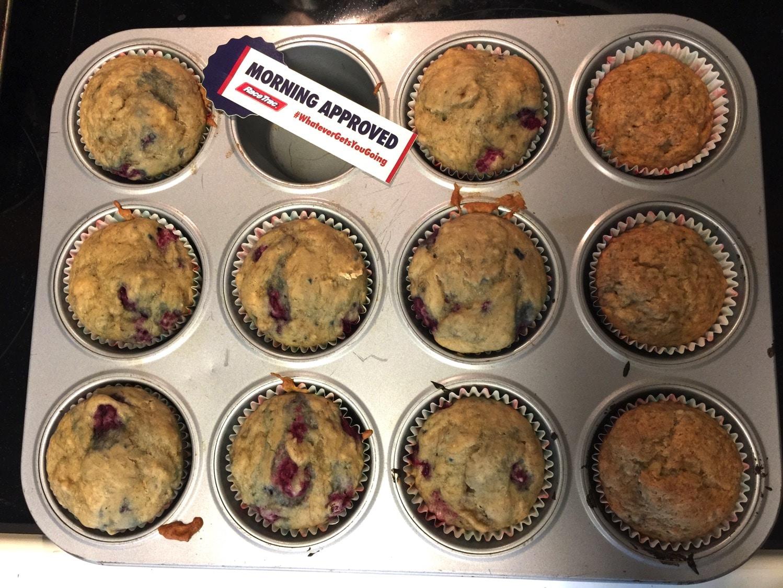 raspberry banana muffins