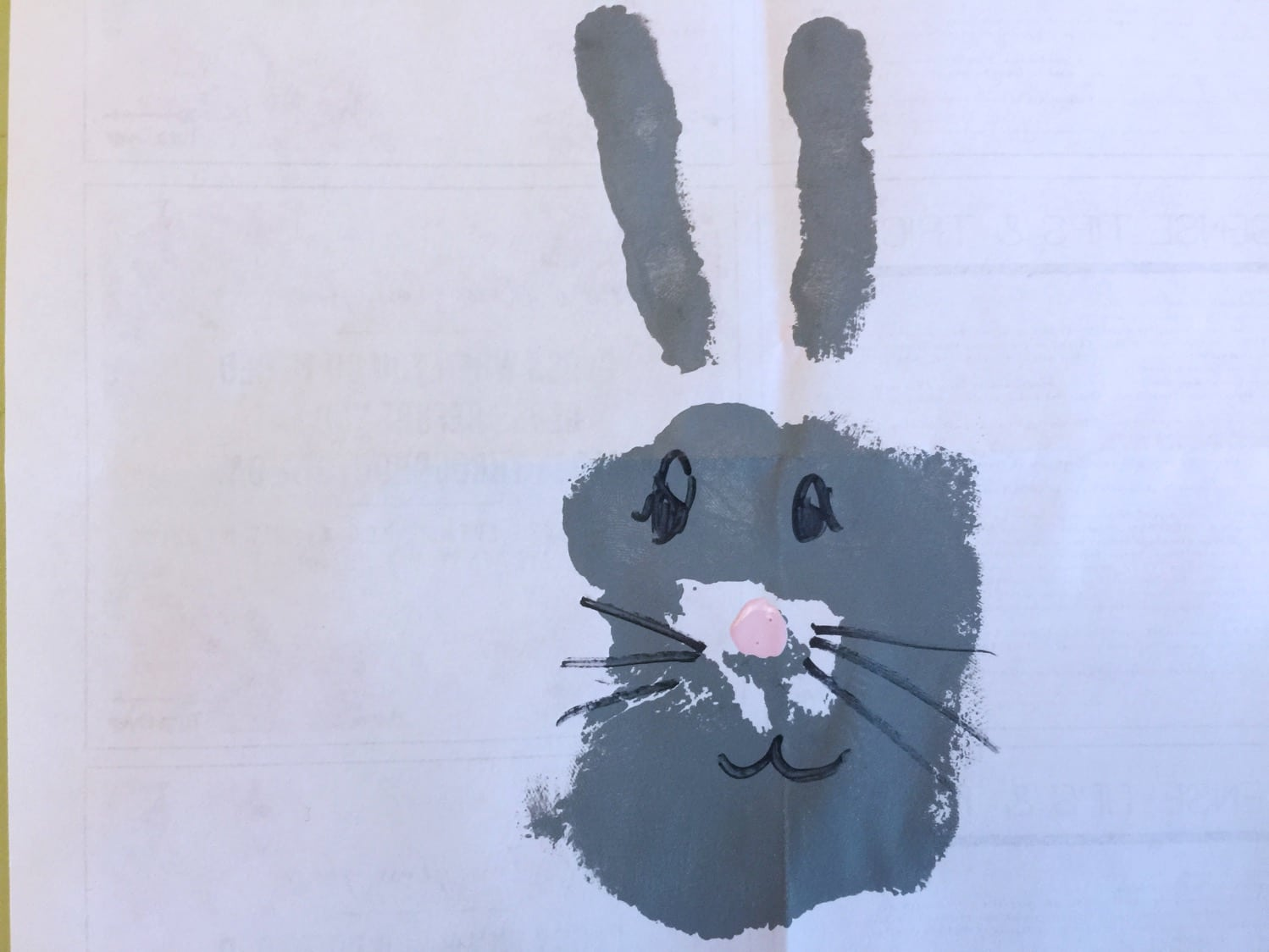 Hand print bunny on paper