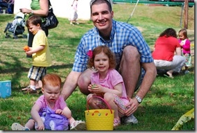 Daddy helps with the eggs