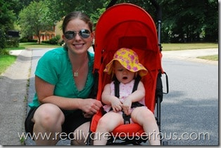 Mommy and #2 in the shade