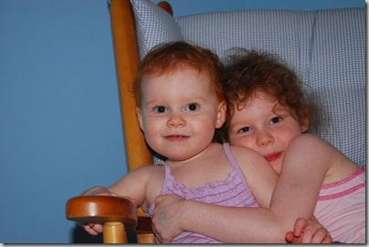 Sisters in a chair