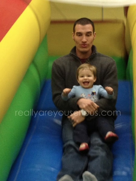 daddy and e on the slide