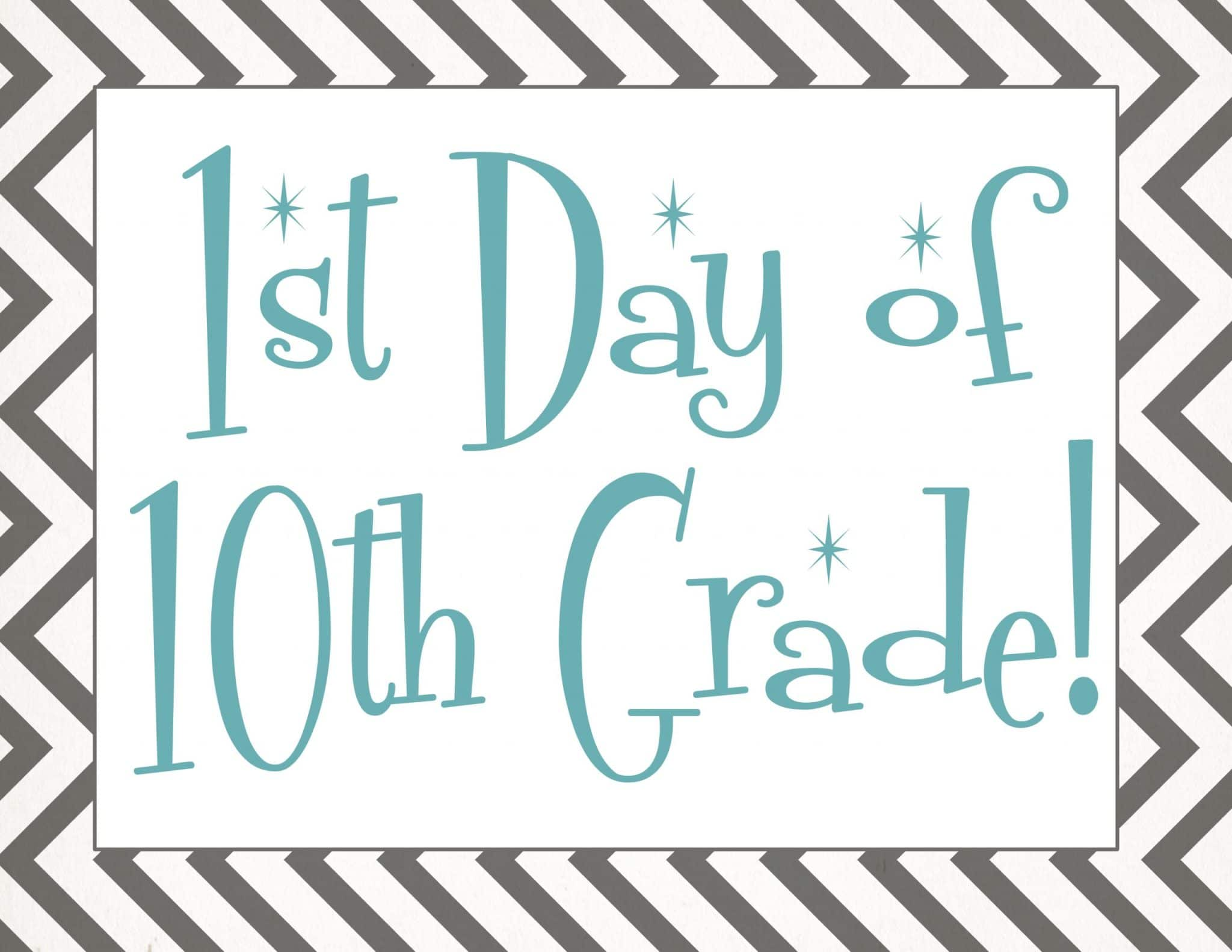 free Back to school printable | first day of 10th grade