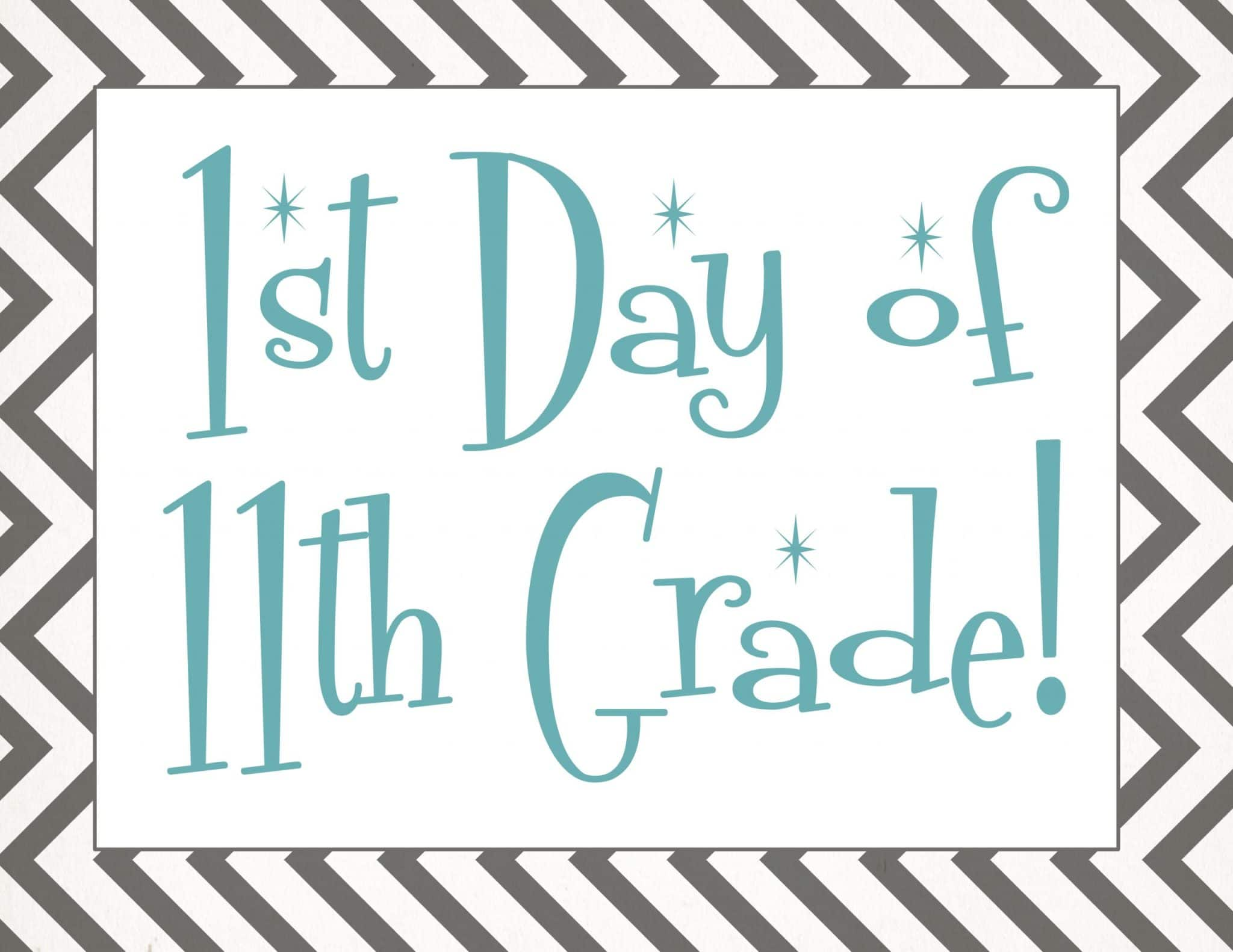free Back to school printable | first day of 11th grade