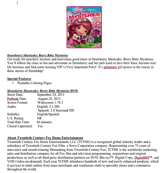 Strawberry Shortcake Berry Bitty Mysteries Giveaway