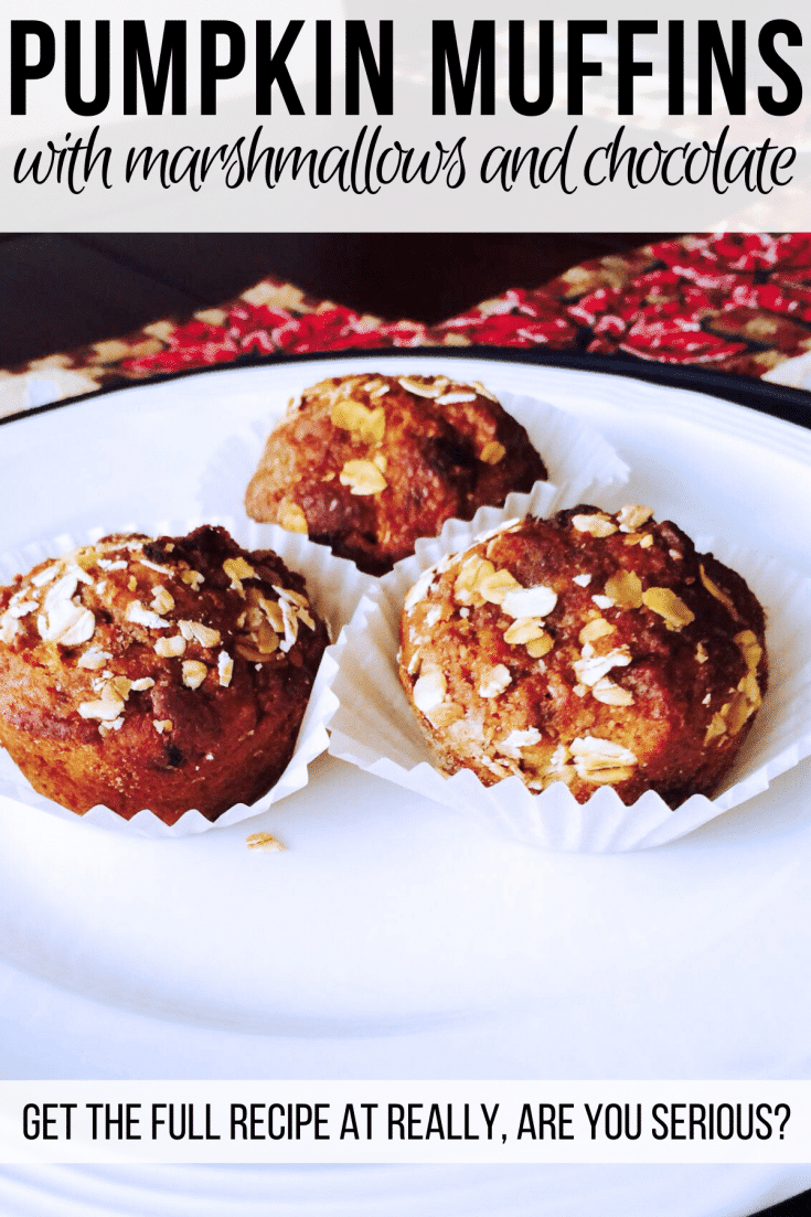 Gluten-free dairy-free pumpkin muffins with chocolate chips and marshmallow