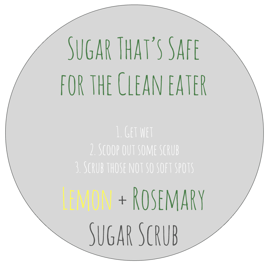 Lemon rosemary label sugar scrub