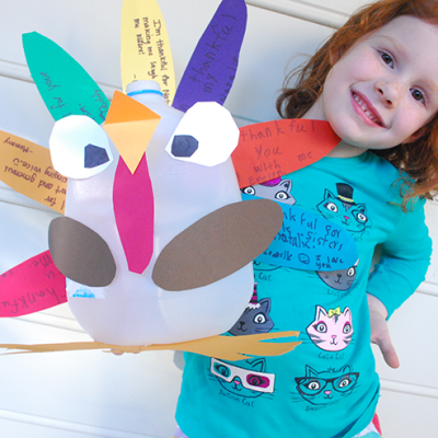 DIY Upcycled Thankful Turkey Centerpiece Milk Jug Free Printable