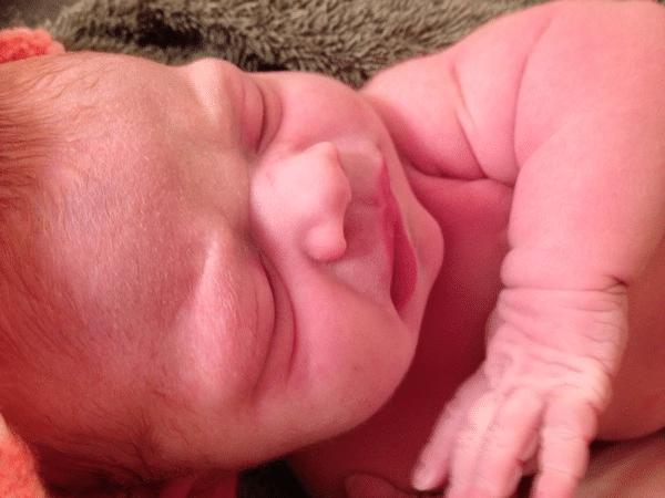 Newborn Baby B after our unplanned unassited homebirth
