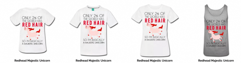 redhead unicorn shirt for kids and adults