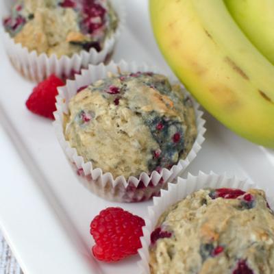 gluten free dairy free banana raspberry muffins