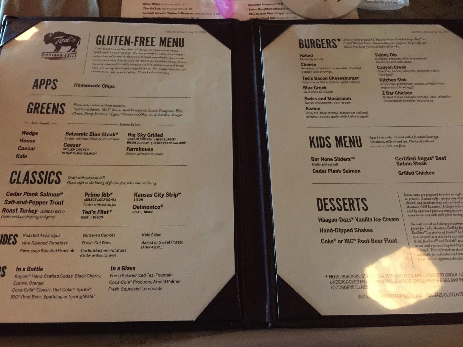 Ted's Montant Gluten Free Menu