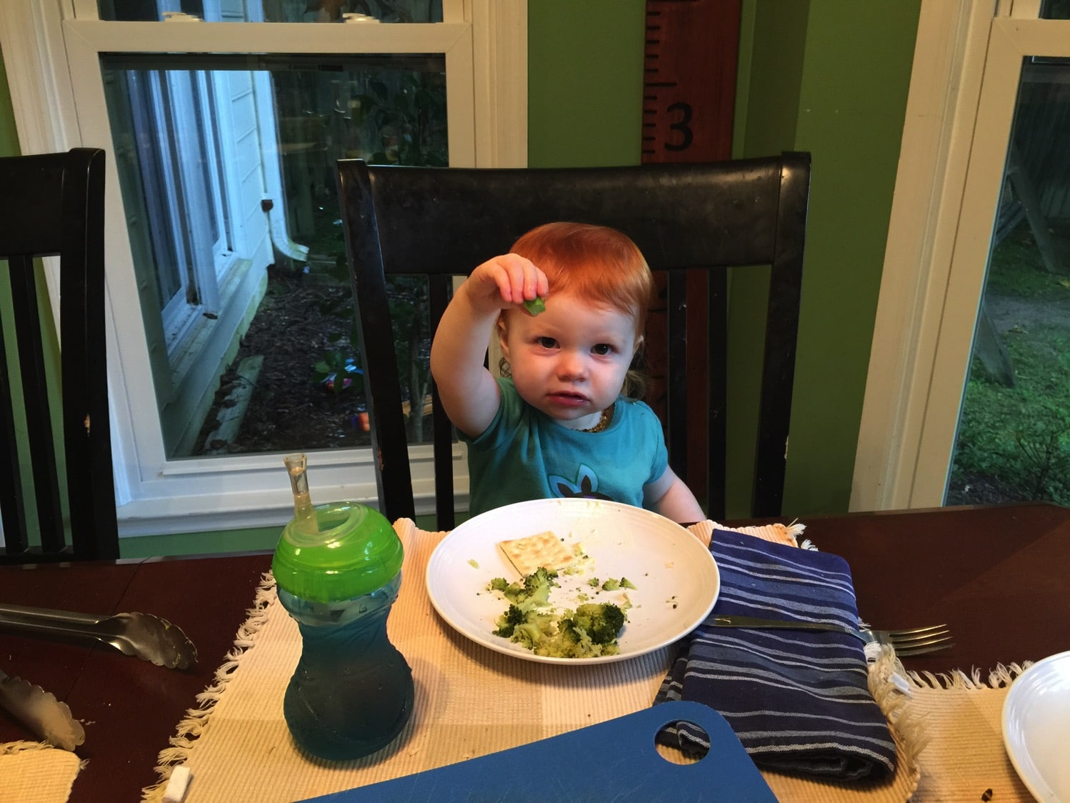 B eating broccoli and devouring it