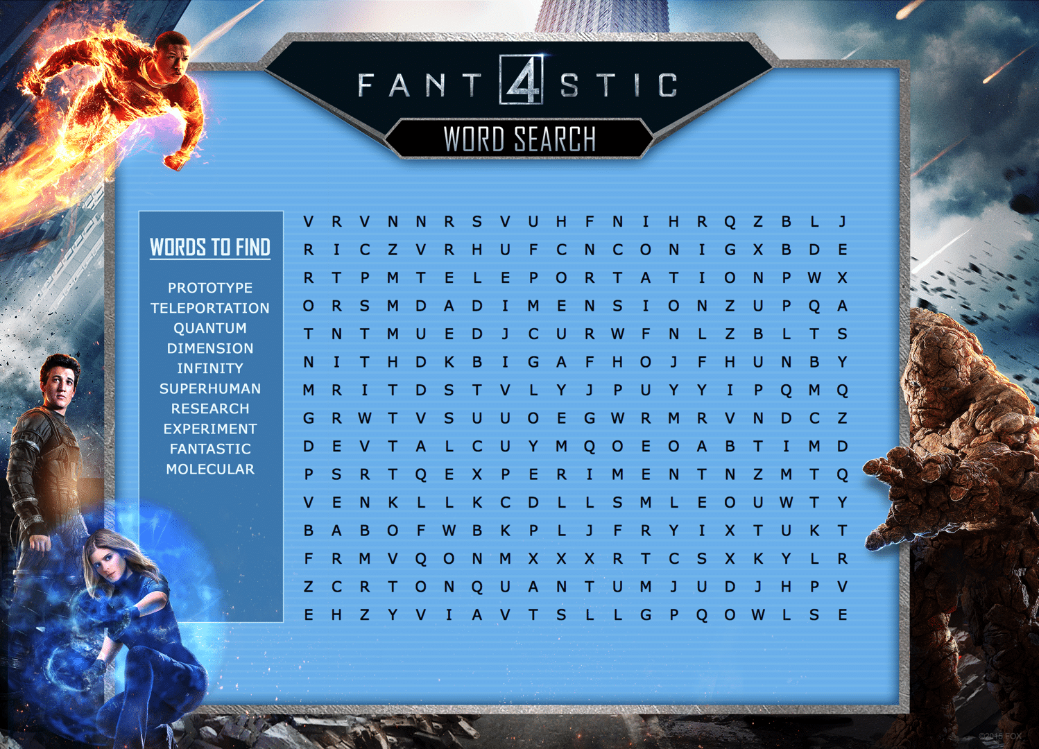 Fantastic Four Word Search Free Printable