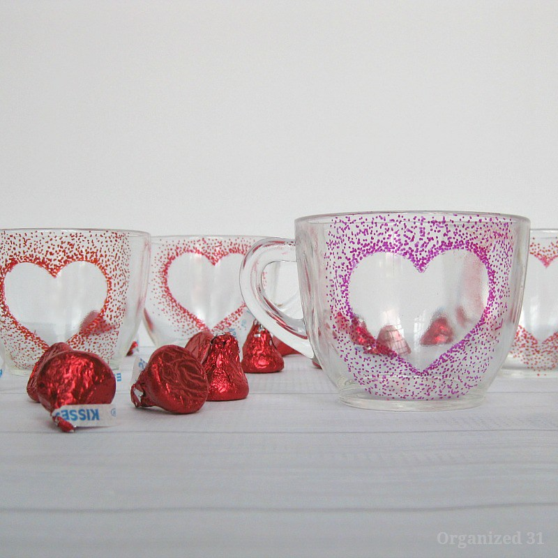 Sharpie dot heart cups