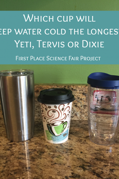 which cup will keep water cold the longest : yeti, tervis, dixie paper cup