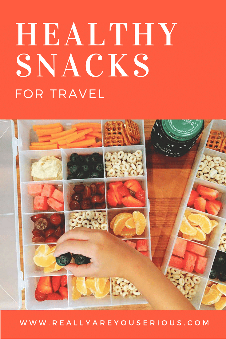 Healthy snacks for travel pin